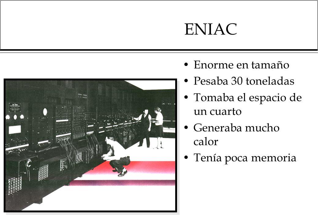 ENIAC Enorme en tamaño Pesaba 30 toneladas