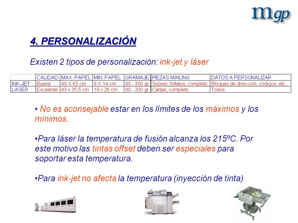 4. PERSONALIZACIÓN Existen 2 tipos de personalización: ink-jet y láser