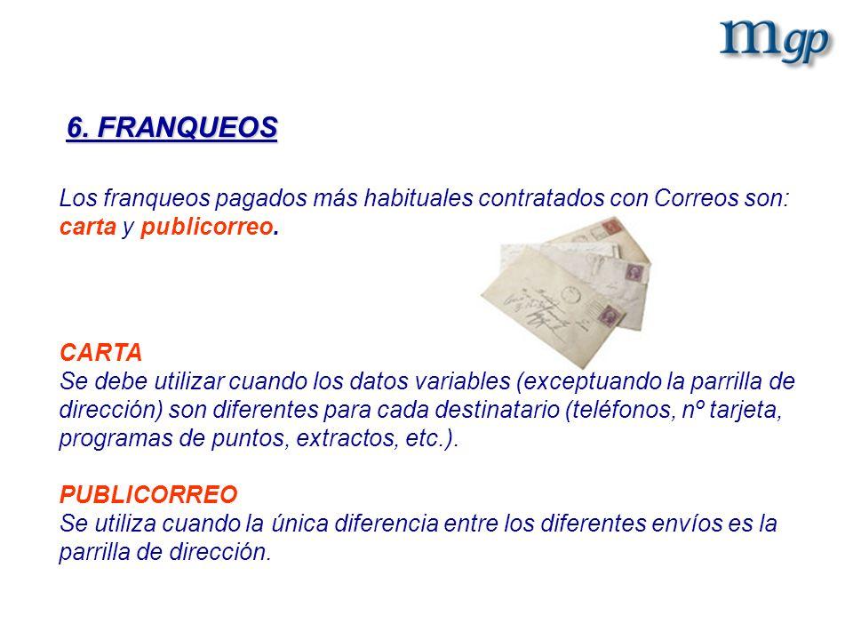 6. FRANQUEOS Los franqueos pagados más habituales contratados con Correos son: carta y publicorreo.