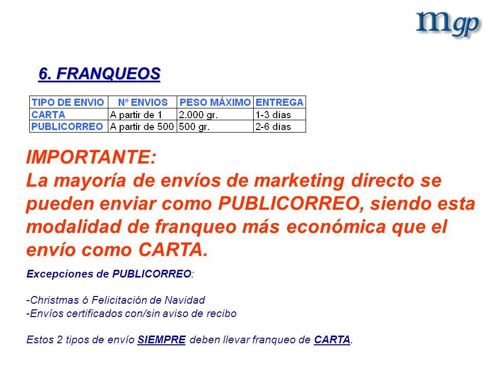 6. FRANQUEOS IMPORTANTE: