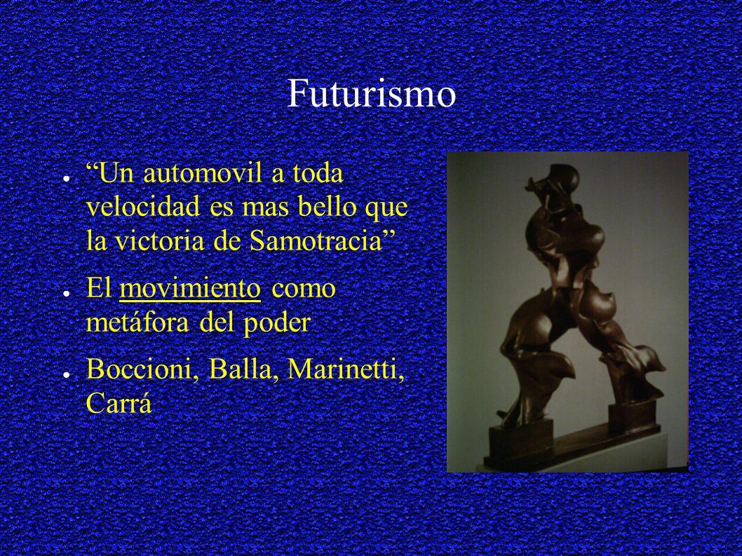 Futurismo Un automovil a toda velocidad es mas bello que la victoria de Samotracia El movimiento como metáfora del poder.