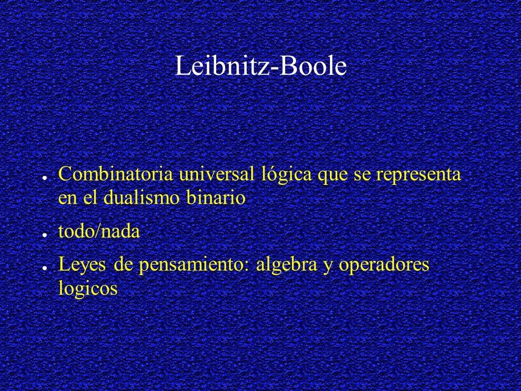 Leibnitz-Boole Combinatoria universal lógica que se representa en el dualismo binario. todo/nada.
