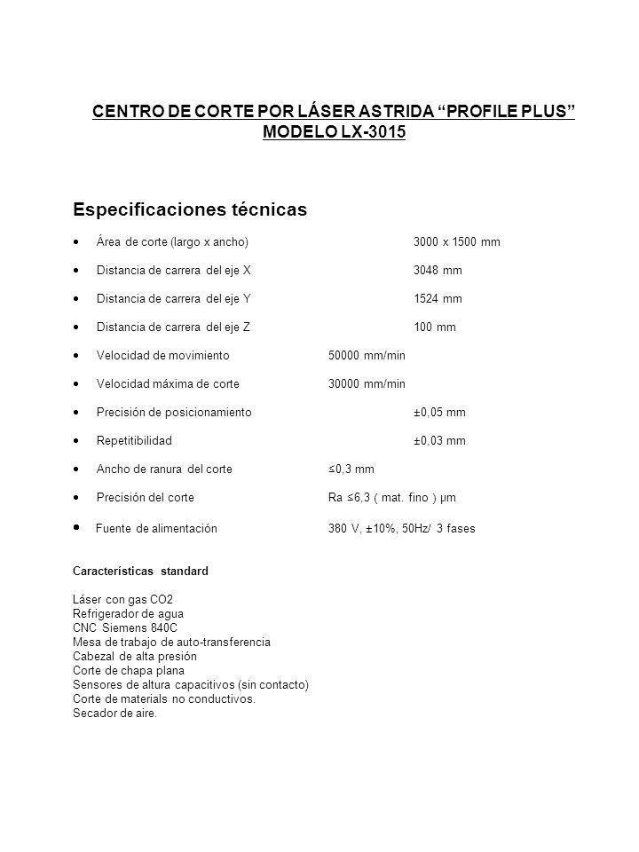 CENTRO DE CORTE POR LÁSER ASTRIDA PROFILE PLUS