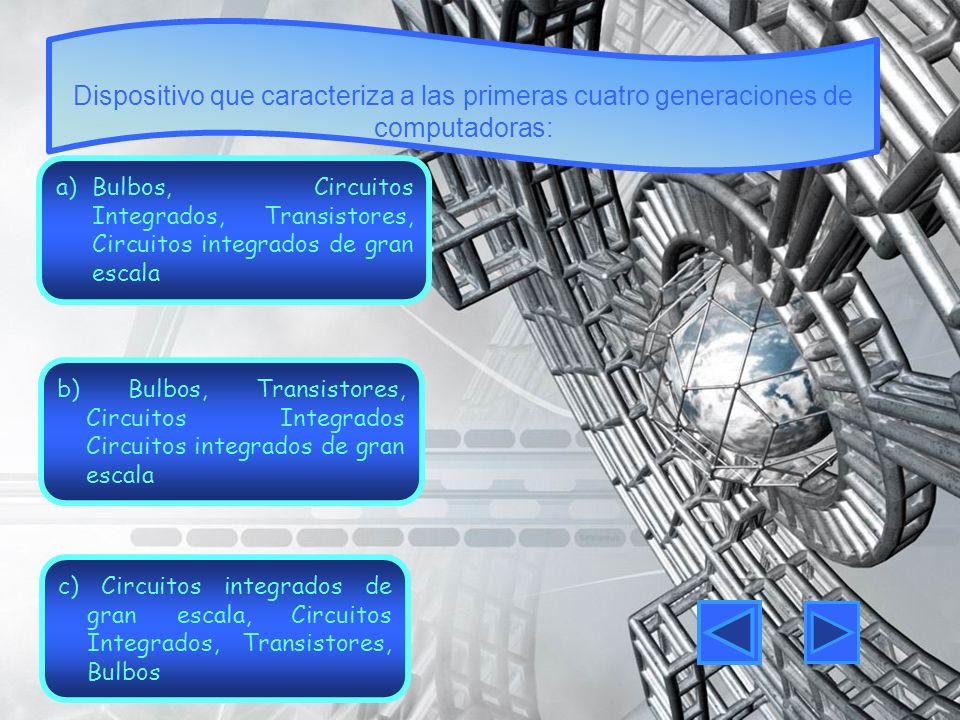 Dispositivo que caracteriza a las primeras cuatro generaciones de computadoras: