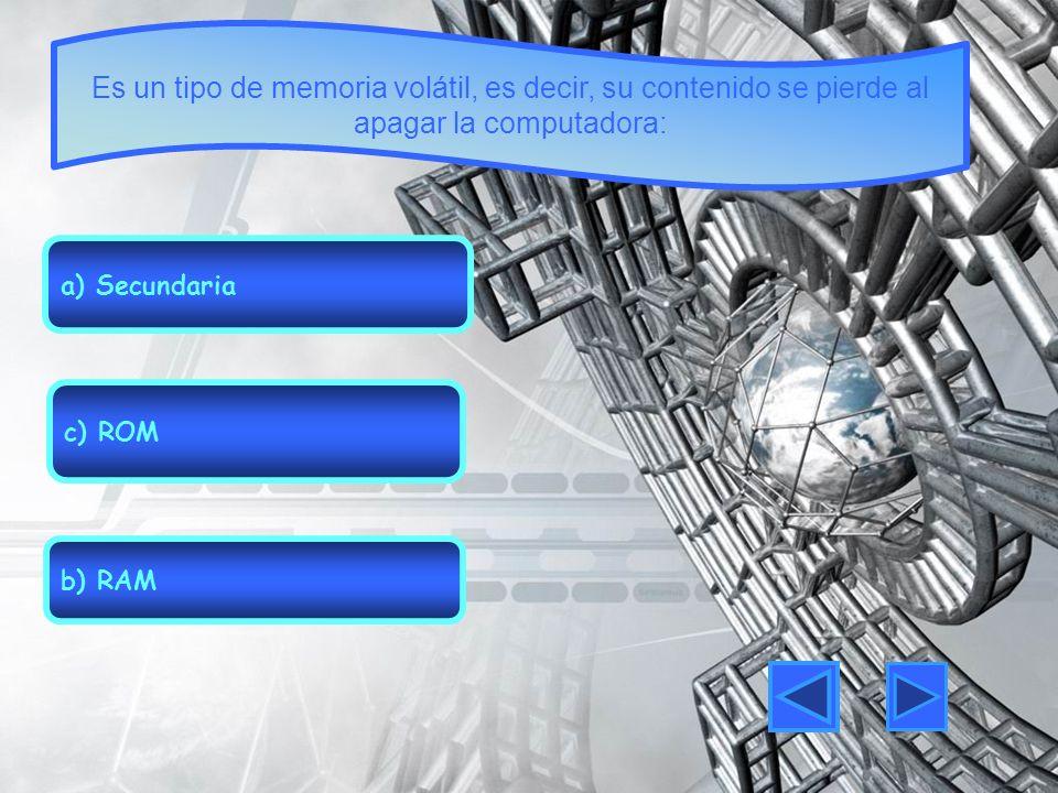 Es un tipo de memoria volátil, es decir, su contenido se pierde al apagar la computadora: