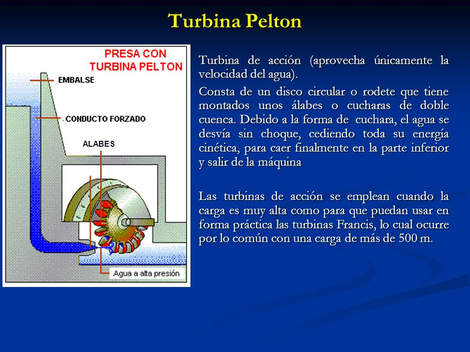 Turbina Pelton ALABES. Turbina de acción (aprovecha únicamente la velocidad del agua).