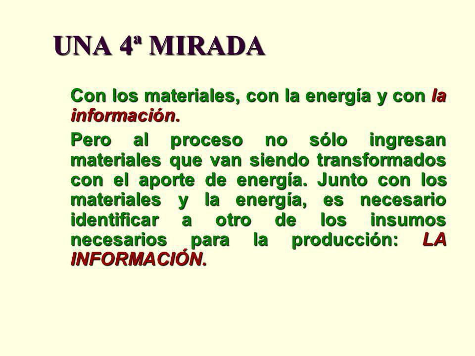 UNA 4ª MIRADA Con los materiales, con la energía y con la información.