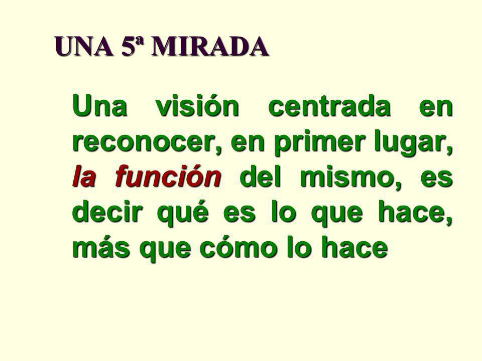UNA 5ª MIRADA Una visión centrada en reconocer, en primer lugar, la función del mismo, es decir qué es lo que hace, más que cómo lo hace.