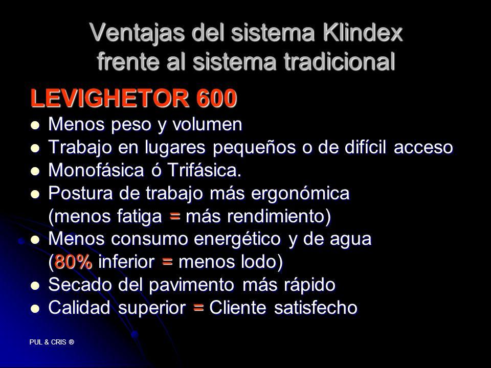 Ventajas del sistema Klindex frente al sistema tradicional