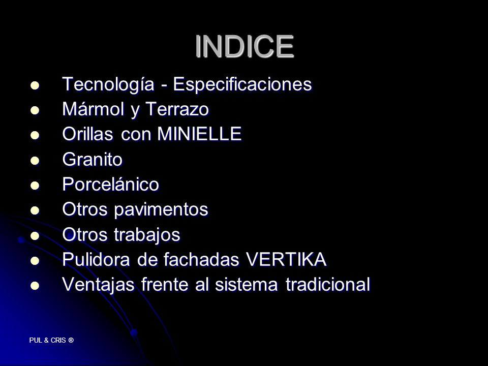 INDICE Tecnología - Especificaciones Mármol y Terrazo