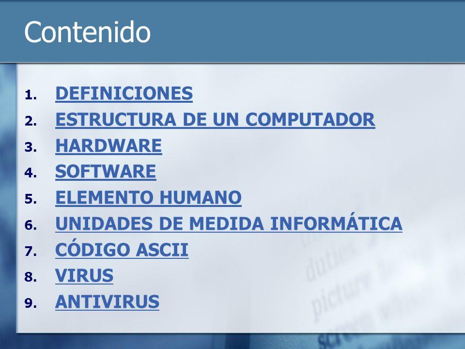 Contenido DEFINICIONES ESTRUCTURA DE UN COMPUTADOR HARDWARE SOFTWARE
