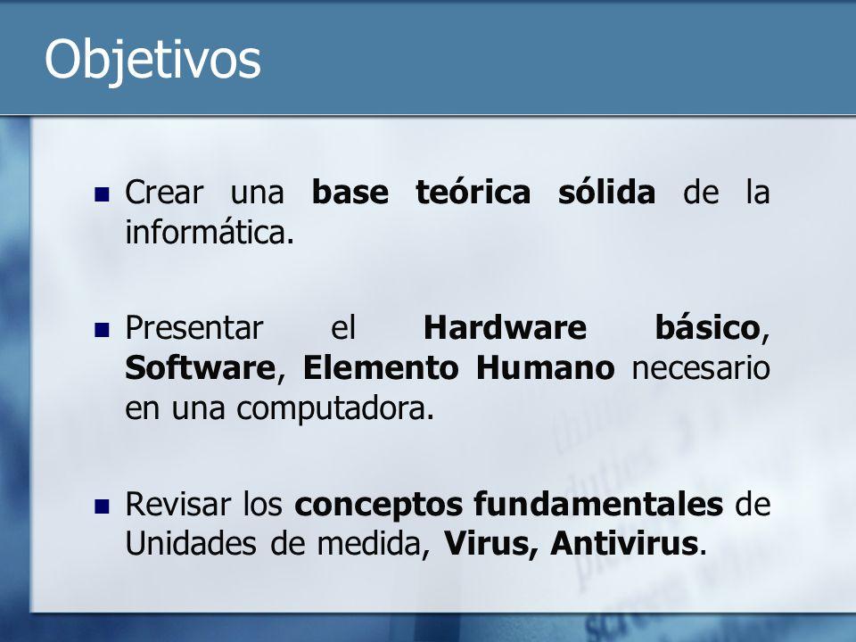 Objetivos Crear una base teórica sólida de la informática.