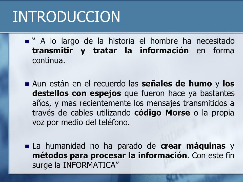INTRODUCCION A lo largo de la historia el hombre ha necesitado transmitir y tratar la información en forma continua.