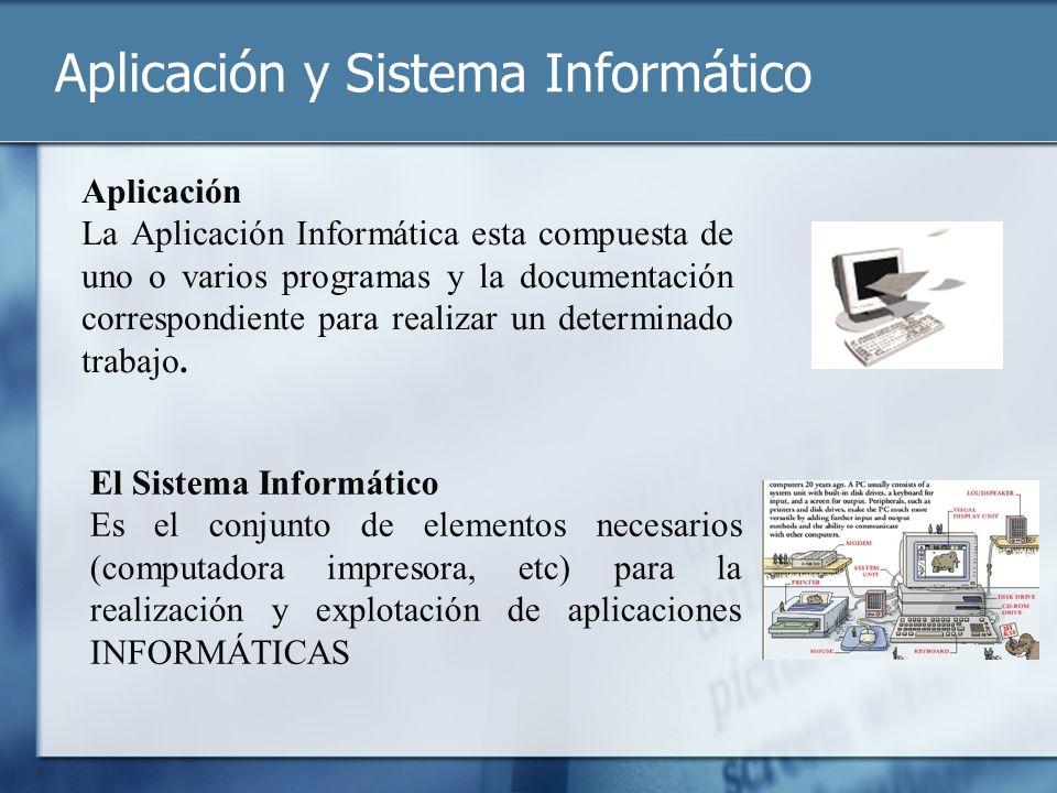Aplicación y Sistema Informático