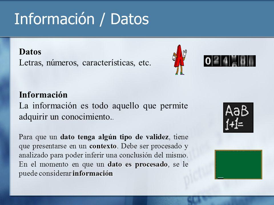 Información / Datos Datos Letras, números, características, etc.