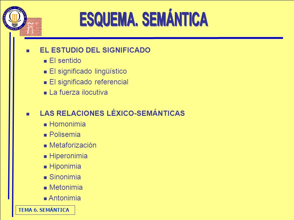 ESQUEMA. SEMÁNTICA EL ESTUDIO DEL SIGNIFICADO El sentido
