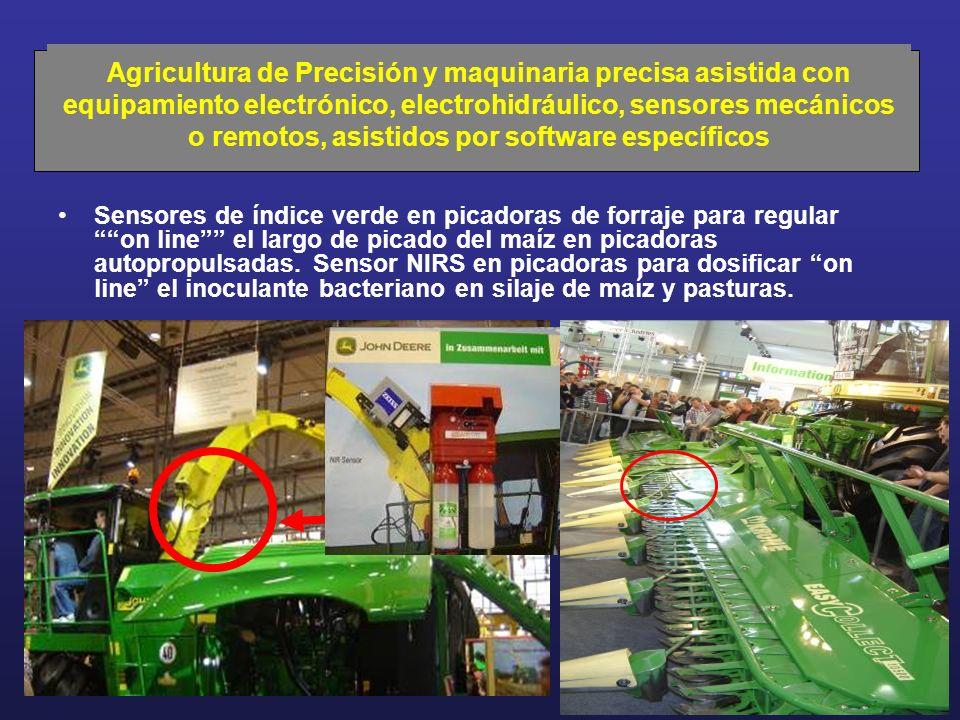 Agricultura de Precisión y maquinaria precisa asistida con equipamiento electrónico, electrohidráulico, sensores mecánicos o remotos, asistidos por software específicos