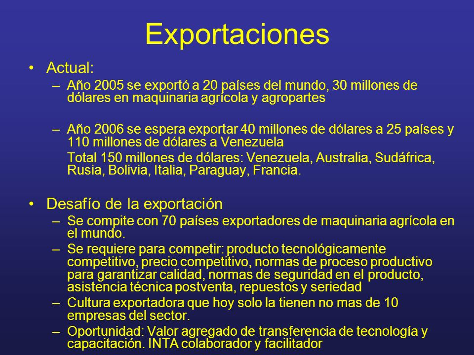 Exportaciones Actual: Desafío de la exportación