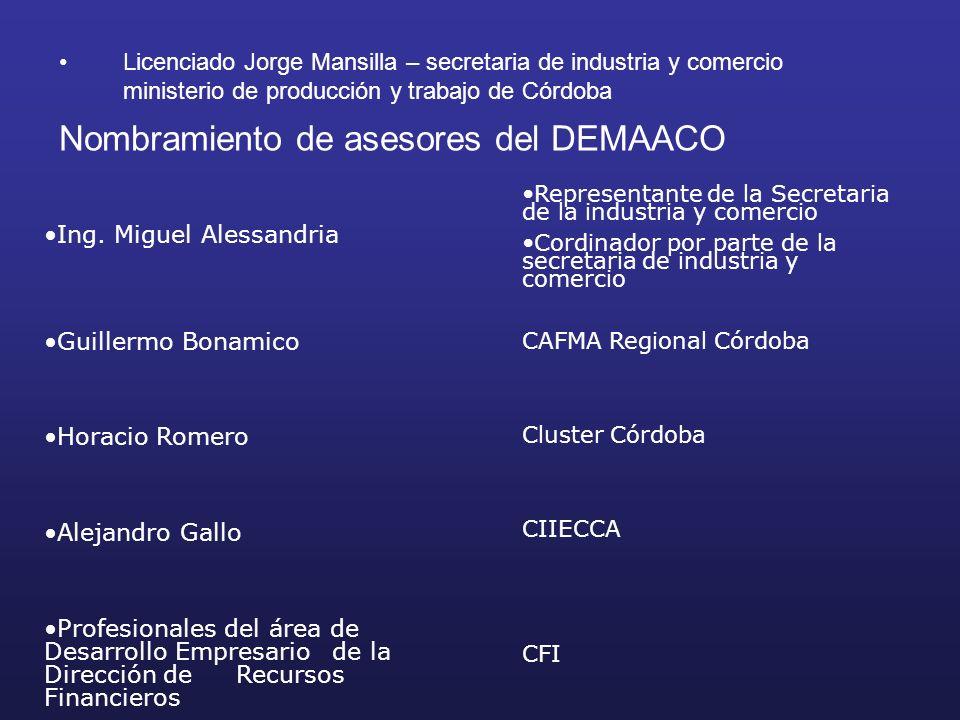 Nombramiento de asesores del DEMAACO