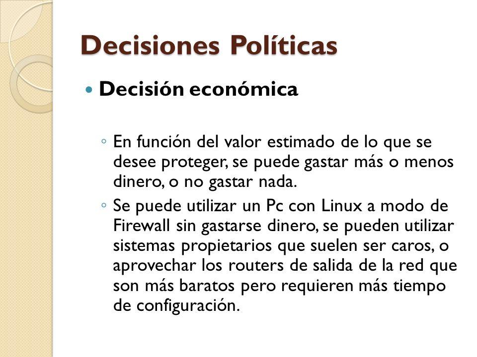 Decisiones Políticas Decisión económica