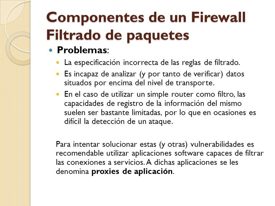 Componentes de un Firewall Filtrado de paquetes