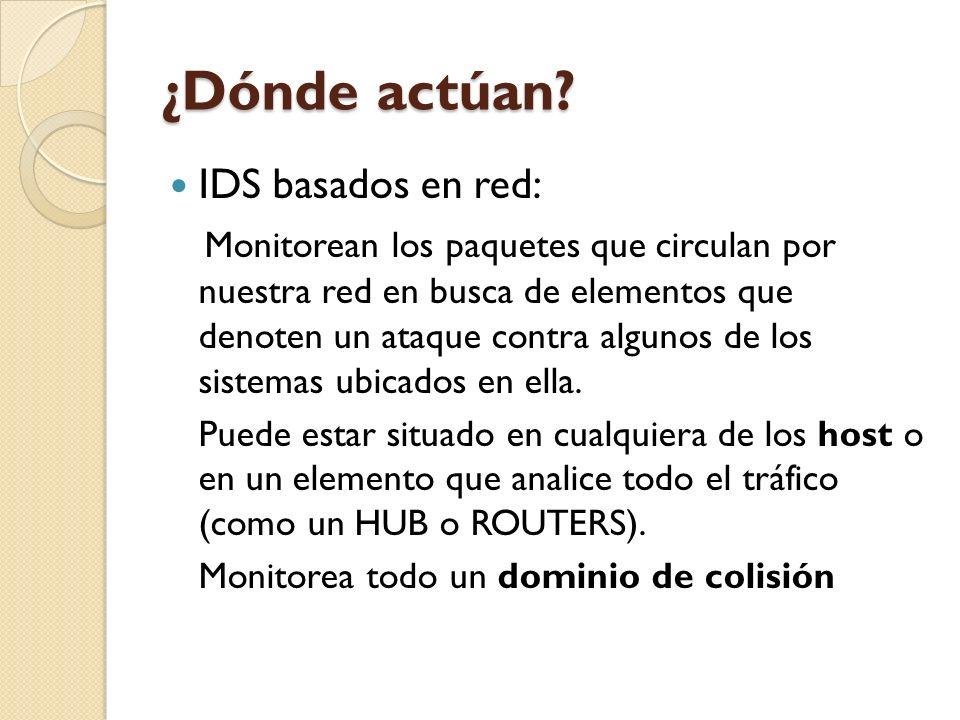 ¿Dónde actúan IDS basados en red: