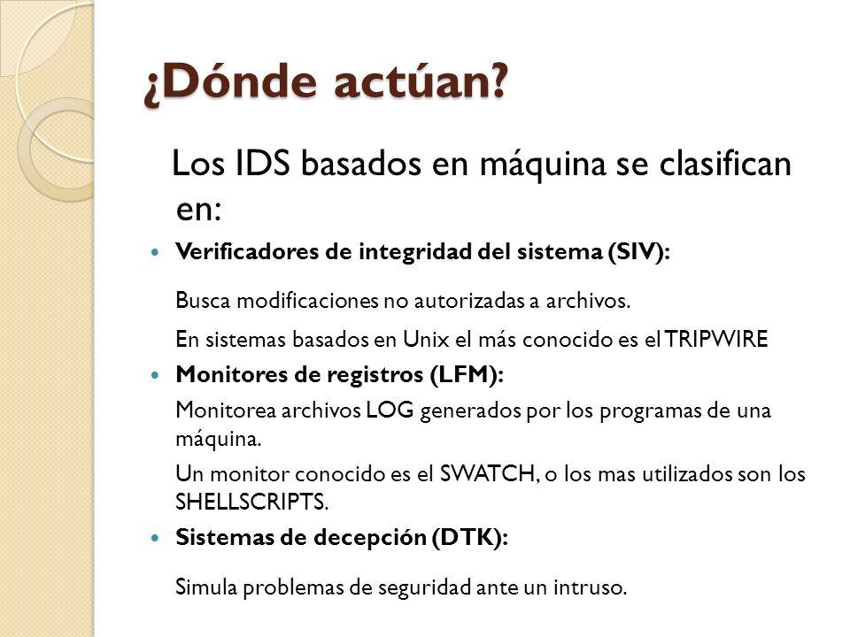¿Dónde actúan Los IDS basados en máquina se clasifican en: