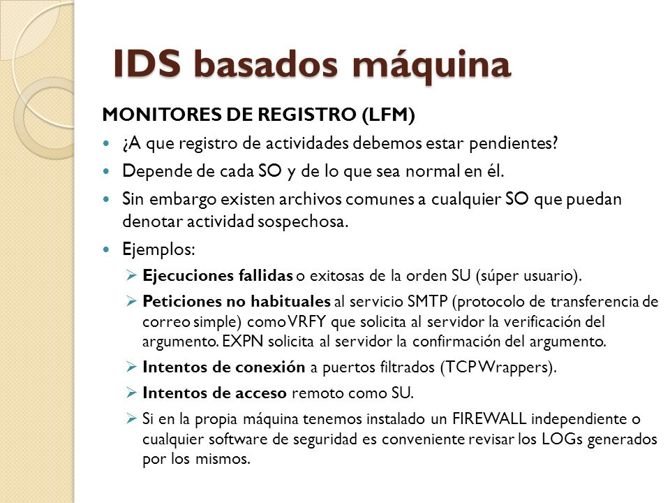 IDS basados máquina MONITORES DE REGISTRO (LFM)