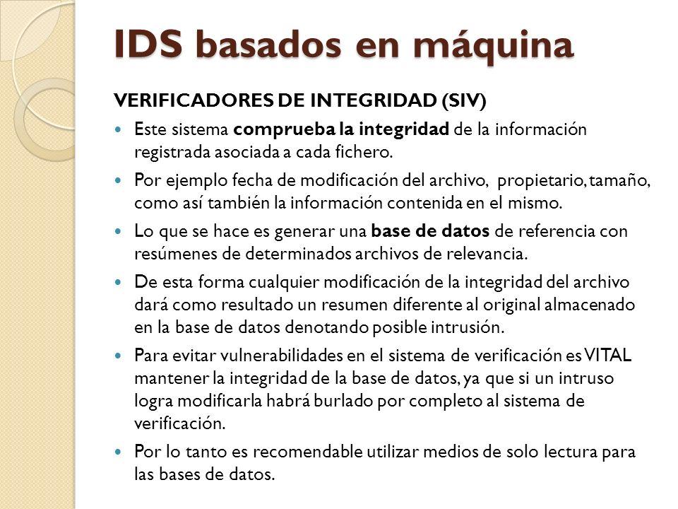 IDS basados en máquina VERIFICADORES DE INTEGRIDAD (SIV)