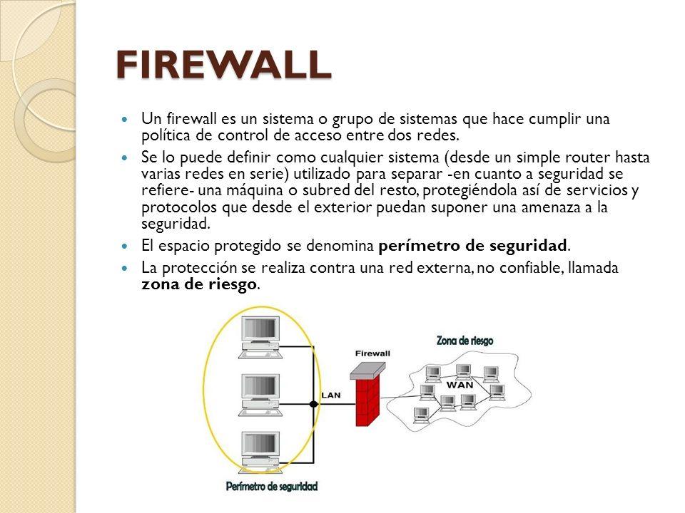 FIREWALL Un firewall es un sistema o grupo de sistemas que hace cumplir una política de control de acceso entre dos redes.
