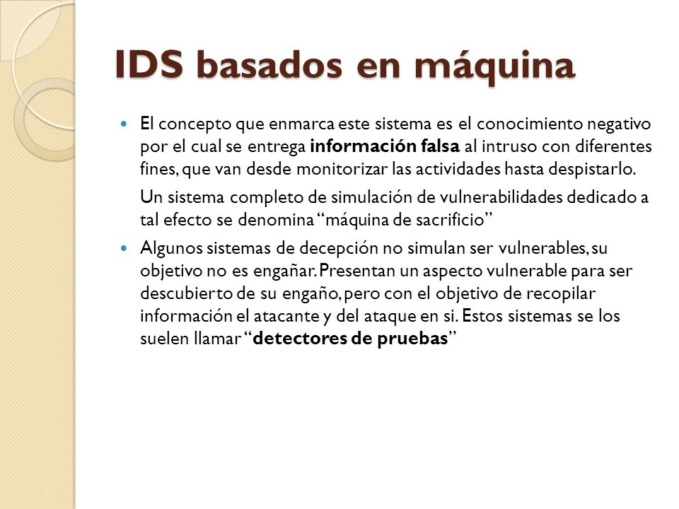 IDS basados en máquina