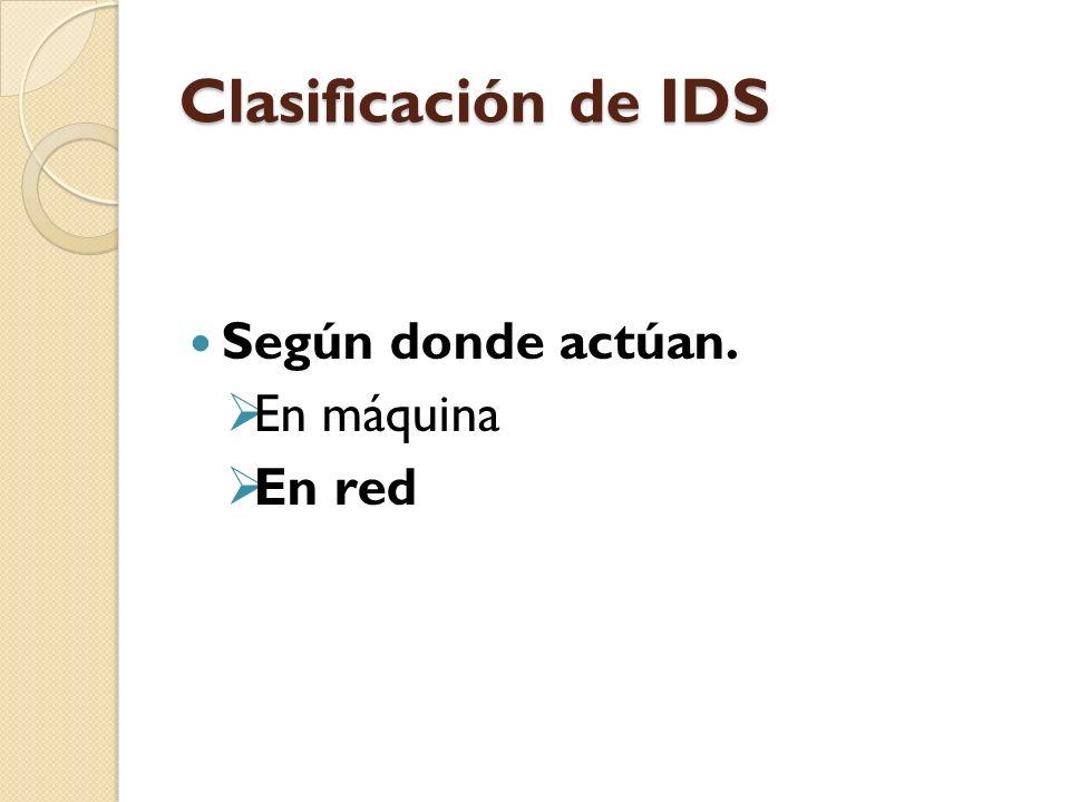 Clasificación de IDS Según donde actúan. En máquina En red