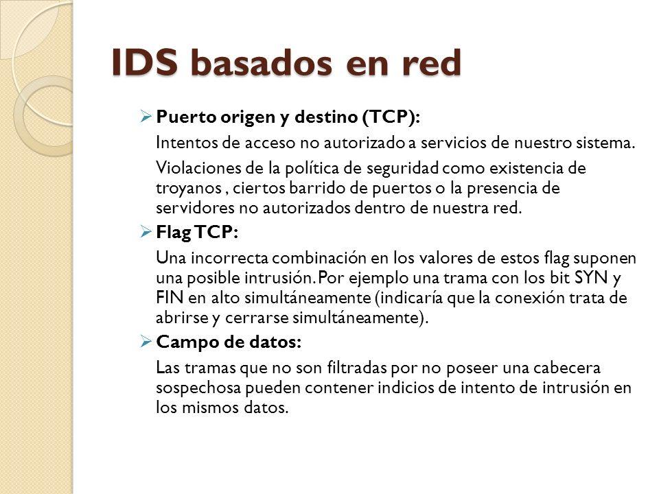 IDS basados en red Puerto origen y destino (TCP):