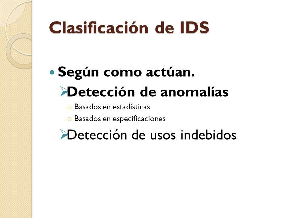 Clasificación de IDS Según como actúan. Detección de anomalías