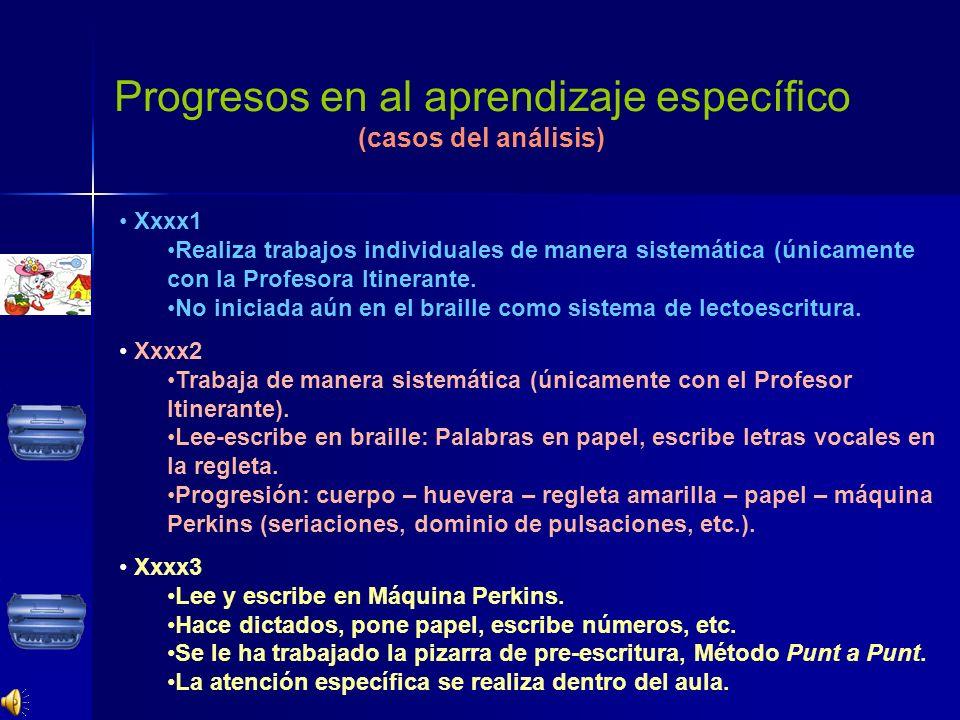 Progresos en al aprendizaje específico