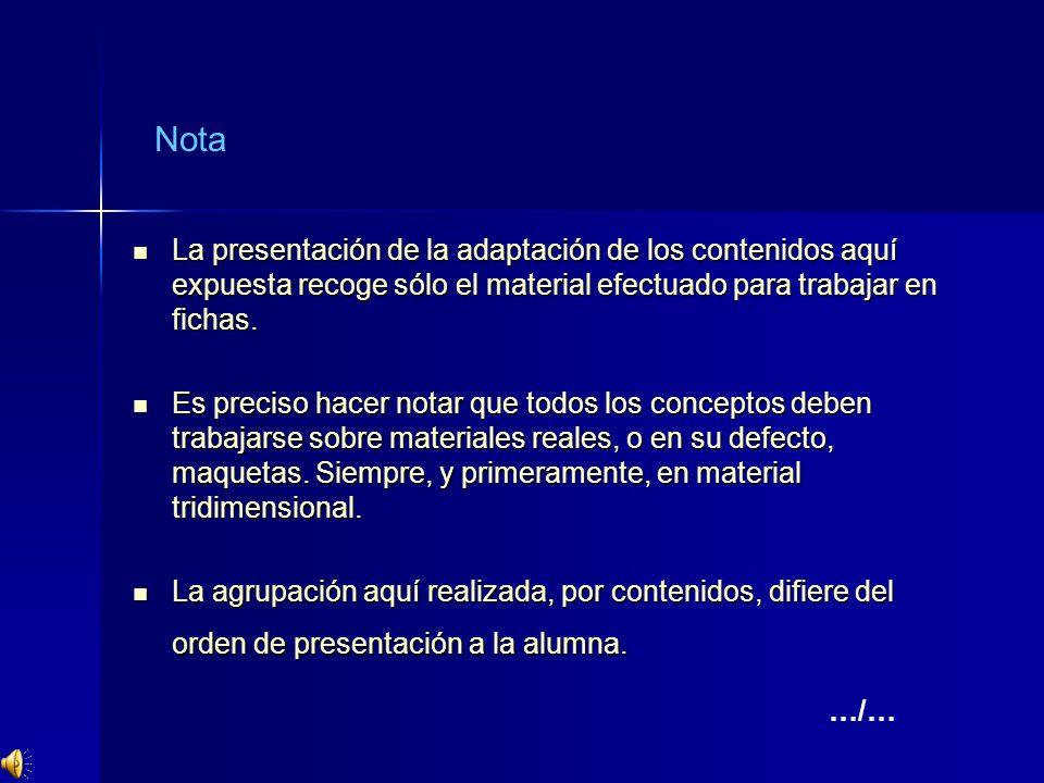 Nota La presentación de la adaptación de los contenidos aquí expuesta recoge sólo el material efectuado para trabajar en fichas.