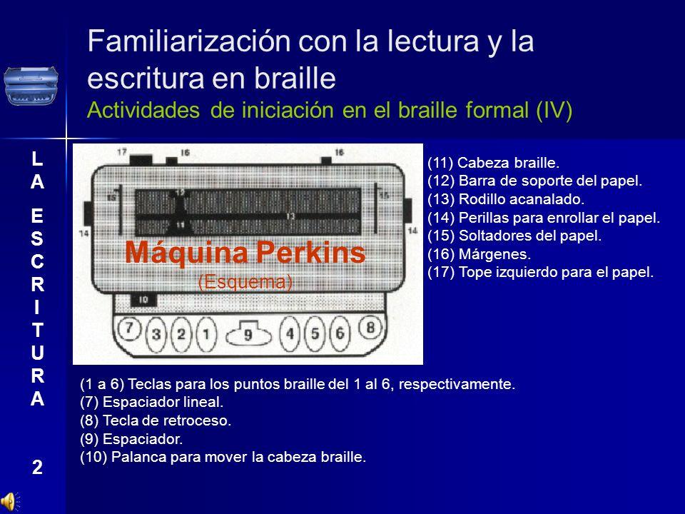 Familiarización con la lectura y la escritura en braille Actividades de iniciación en el braille formal (IV)