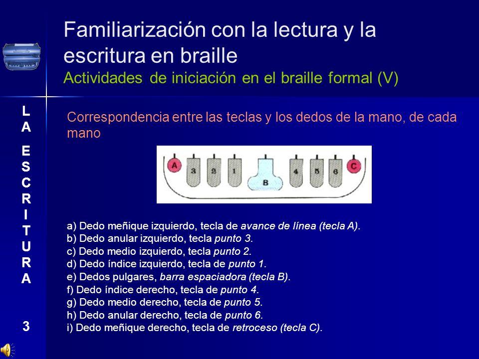 Familiarización con la lectura y la escritura en braille Actividades de iniciación en el braille formal (V)
