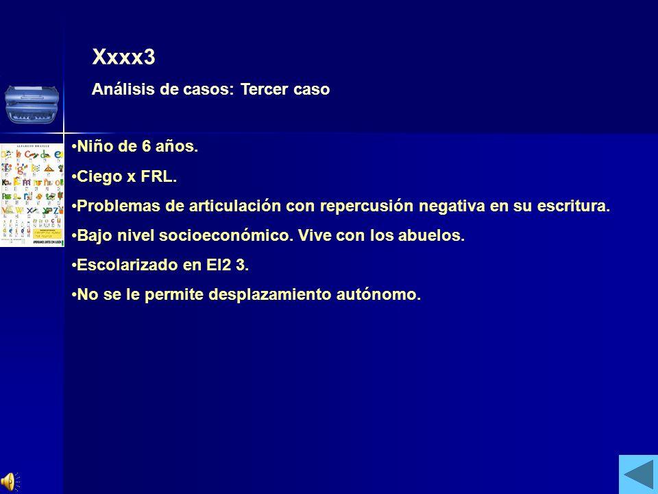 Xxxx3 Análisis de casos: Tercer caso Niño de 6 años. Ciego x FRL.