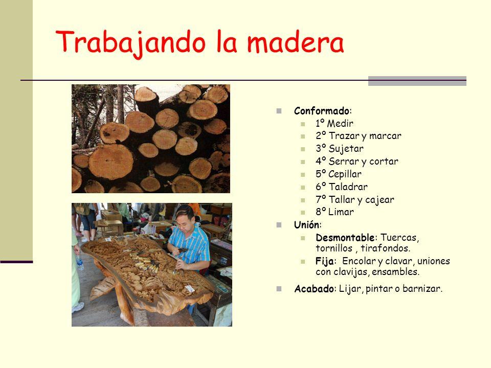 Trabajando la madera Conformado: 1º Medir 2º Trazar y marcar