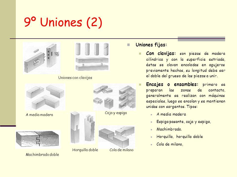 9º Uniones (2) Uniones fijas: