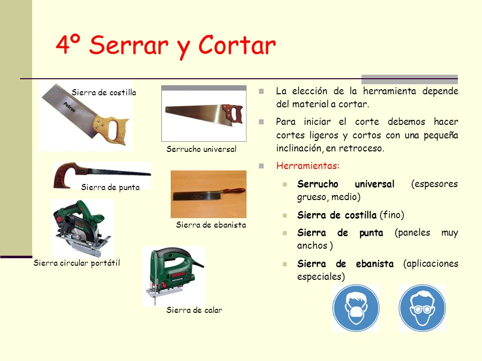 4º Serrar y Cortar Sierra de costilla. La elección de la herramienta depende del material a cortar.