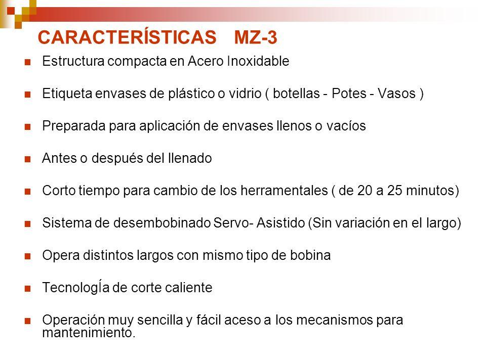 CARACTERÍSTICAS MZ-3 Estructura compacta en Acero Inoxidable