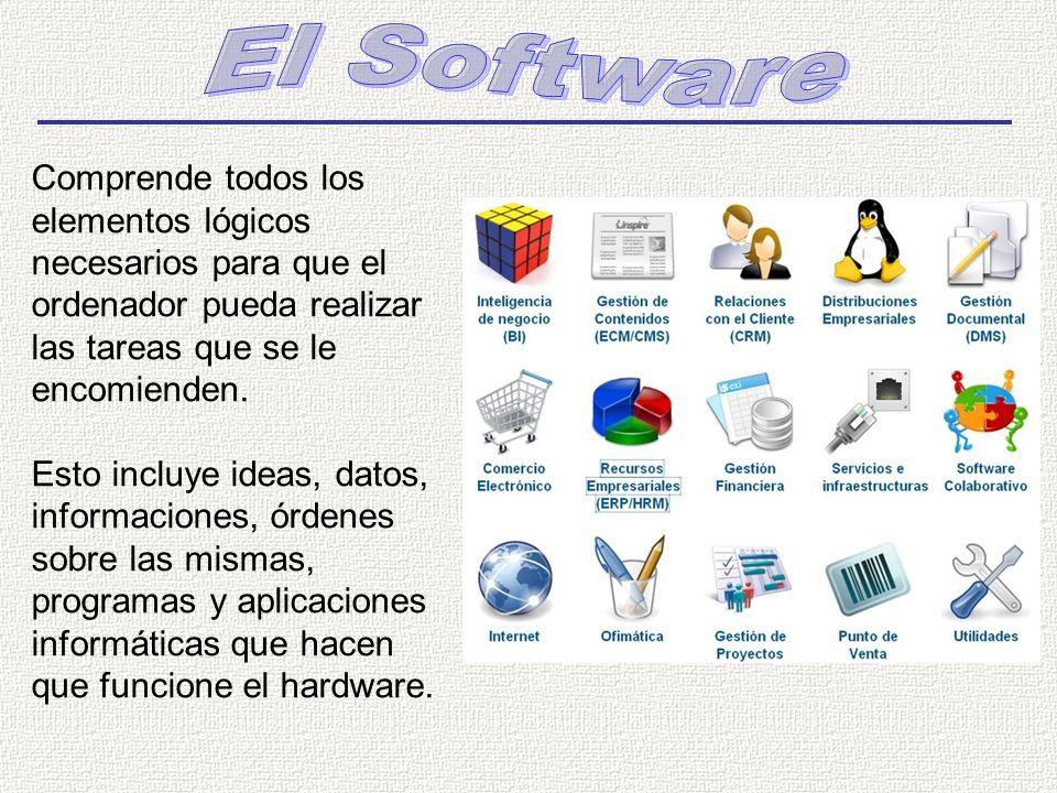 El Software Comprende todos los elementos lógicos necesarios para que el ordenador pueda realizar las tareas que se le encomienden.
