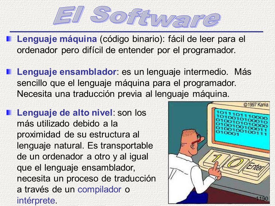 El Software Lenguaje máquina (código binario): fácil de leer para el ordenador pero difícil de entender por el programador.