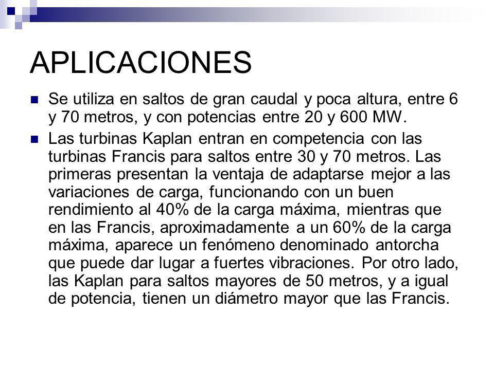 APLICACIONES Se utiliza en saltos de gran caudal y poca altura, entre 6 y 70 metros, y con potencias entre 20 y 600 MW.
