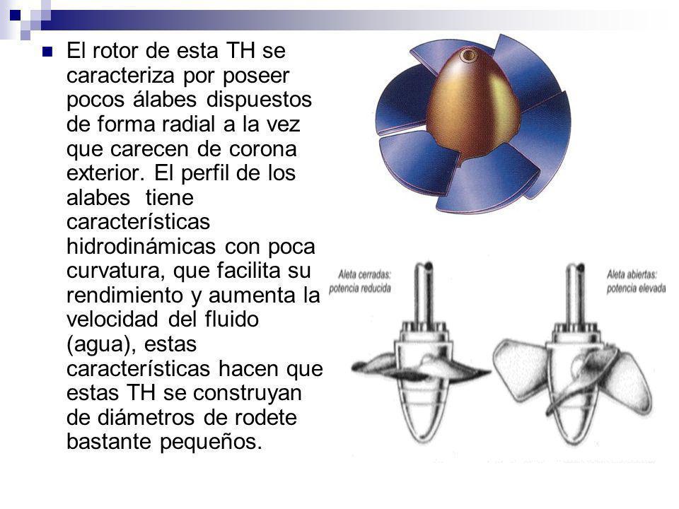 El rotor de esta TH se caracteriza por poseer pocos álabes dispuestos de forma radial a la vez que carecen de corona exterior.