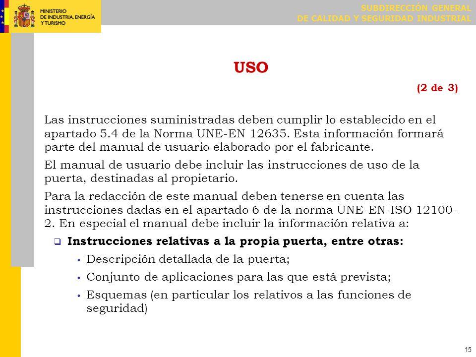USO (3 de 3) Instrucciones relativas a la utilización de la puerta, entre otras: