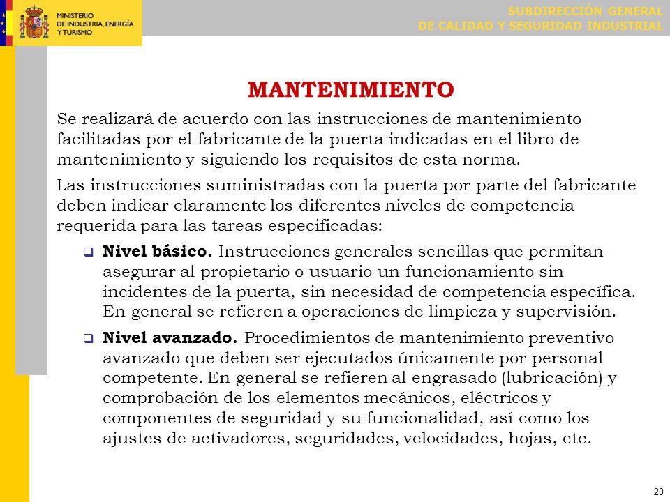 MANTENIMIENTO / PERIODICIDAD