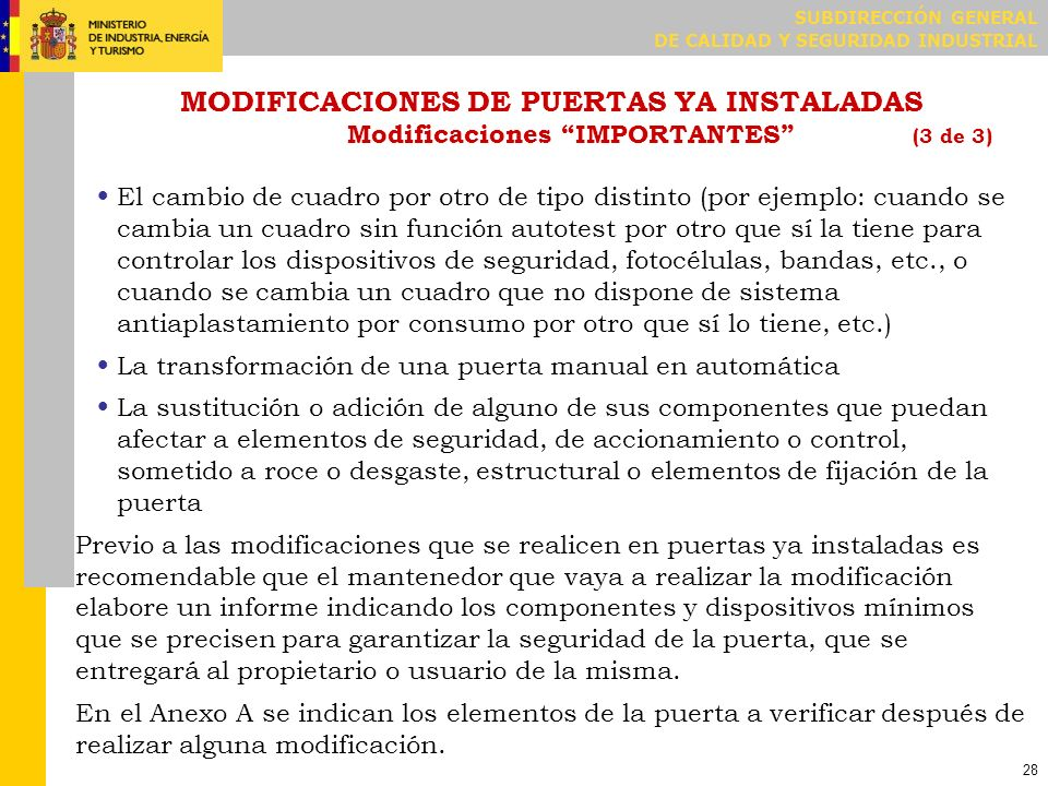COMPROBACIONES DE MANTENIMIENTO O MODIFICACIÓN ANEXO A (1 de 2)